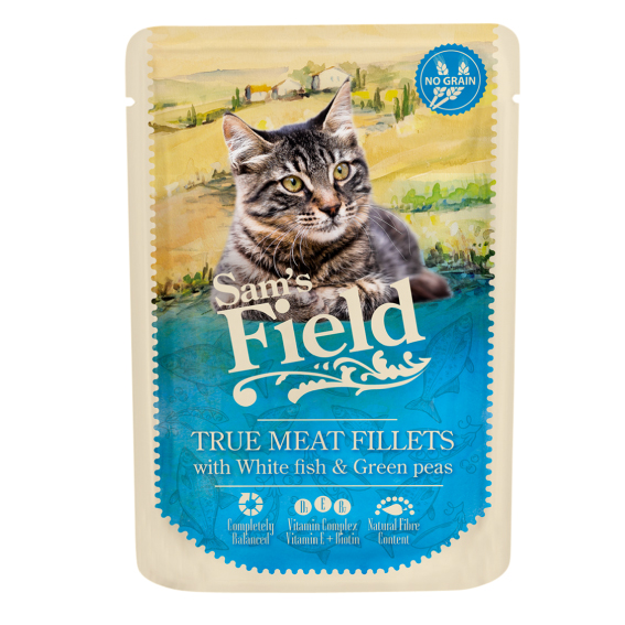 Sam's Field Pouch Cat - White fish & Green peas